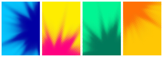 Set of abstract halftone colorful backgrounds..