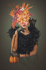 Abstract halloween art collage of young woman with flowers