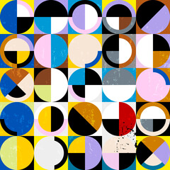 abstract geometric background pattern, retro style, with circles, squares, semicircle, paint strokes and splashes, seamless