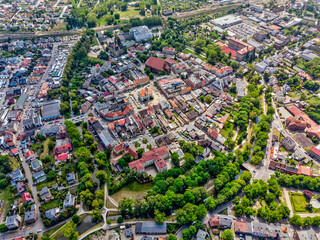 Obraz Sunny day in Koscian, city in wielkopolskie voivodenship aerial view - fototapety do salonu