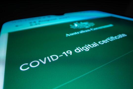 Melbourne, Australia - Aug 24, 2021: Close-up view of Australian COVID 19 digital certificate on a smartphone