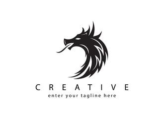 Logo design template, dragon head icon on black