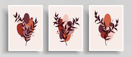 Vector cover layout with harmonious colors and line art. Minimalist template with abstract shapes and botanical lines composition. Designed for wall decoration, postcard or poster, cover design.