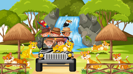 Kids tour in Safari scene with many leopards