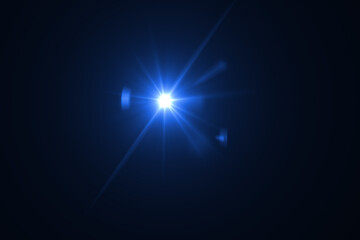 Optical lens flare effect on black background