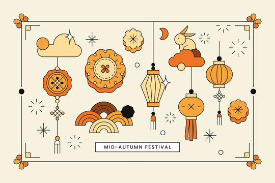 Beige Chinese Mid Autumn festival background
