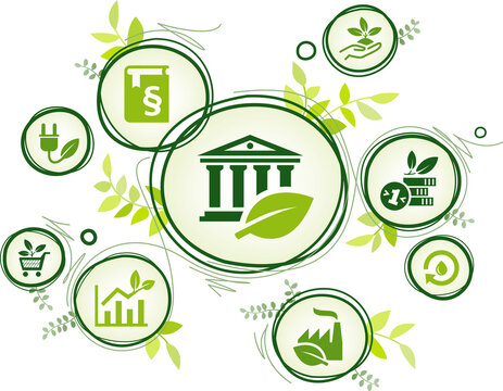 Green new deal vector illustration. Concept on sustainable carbon neutral policy changes, investment in renewable energy / environmentally friendly technology & eco industry / legal limit to emission.