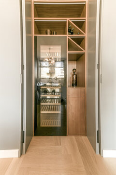 Modern wine cooler and wooden cabinet in apartment