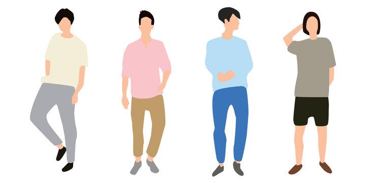 スタイリッシュな男性ファッションシルエットのベクターアイコンイラスト白背景