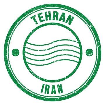 TEHRAN - IRAN, words written on green postal stamp