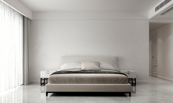 The interior and mock up decoration and bedroom design and white wall texture background. 3D render