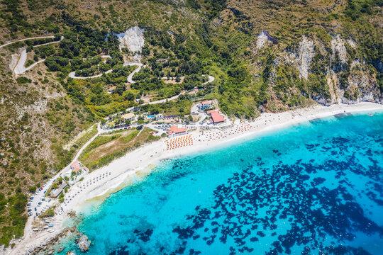Aerial view of Petani Beach on the Kefalonia Island, Greece
