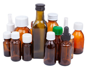 Cough syrup bottles, tablets and medicines isolated white. SET BROWN BOTTLE.