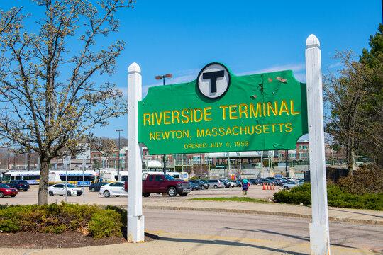 Boston Metro MBTA Green Line Riverside terminal station, Newton, Massachusetts MA, USA.