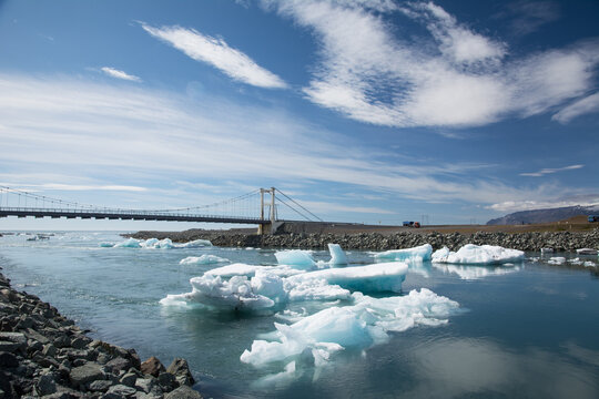 Jökulsárlón Glacier Lagoon and bridge, Iceland