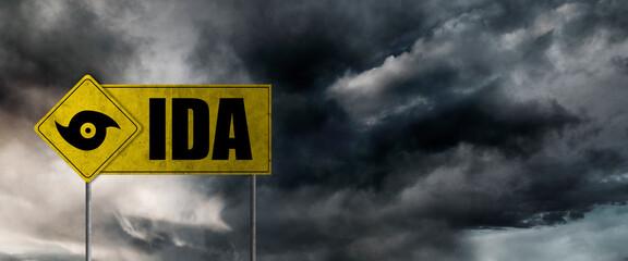 Obraz Hurricane Ida banner with storm clouds background. Hurricane alert. - fototapety do salonu