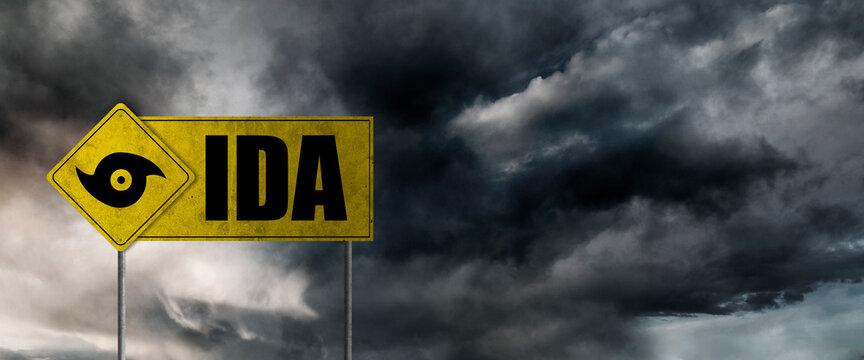 Hurricane Ida banner with storm clouds background. Hurricane alert.