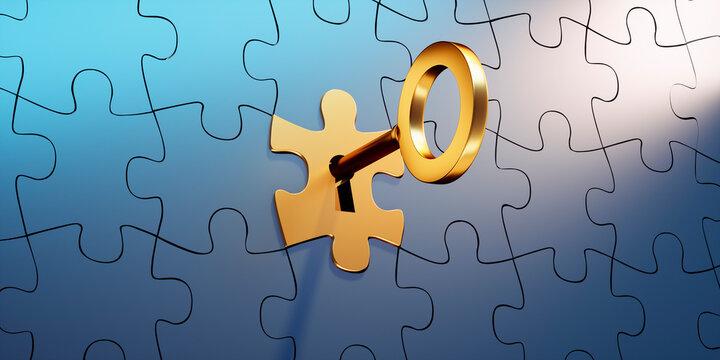 Goldenes Puzzleteil  mit Schlüssel in schwarzer Gruppe