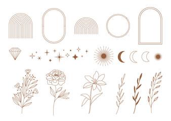 Set of minimal boho linear symbols. Celestial concept. Frame, arch, hands, florals, sun, stars and moon elements. Vector design collection for logo design, social media posts, stories. Branding.