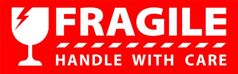 Obraz sticker fragile handle with care, red fragile warning label, fragile label with broken glass symbol - fototapety do salonu