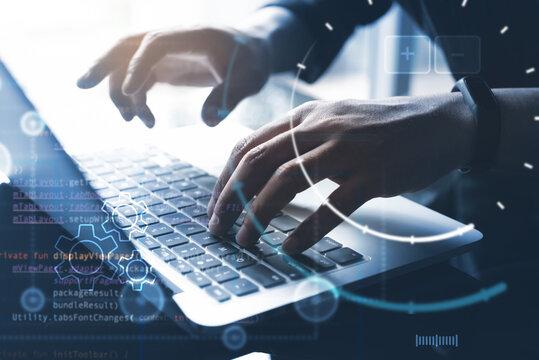 Digital technology, software development, IoT Internet of Things concept. Computer programmer, software developer coding on laptop computer