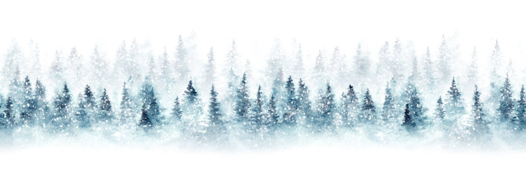 Seamless pattern with snowy spruce forest. Christmas mood. Watercolor painting isolated on white background.