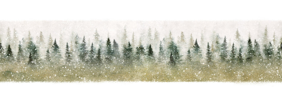 Seamless pattern of winter forest in the snow. Christmas magic painted with watercolor