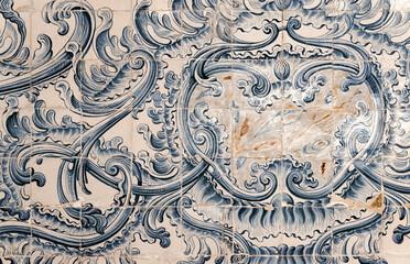 Azulejos traditionnels anciens dans l'université de Coimbra, Portugal