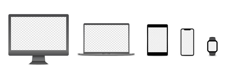 Realistic set computer, laptop, tablet and smartphone. Device screen mockup collection. Modern minimalist mock up computer, laptop, tablet, phone with shadow- vector illustration.