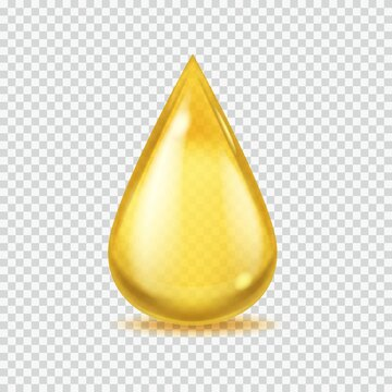 Realistic oil drop. Gold vector honey or petroleum droplet, icon of essential aroma or olive oils, vector illustration on transparent background