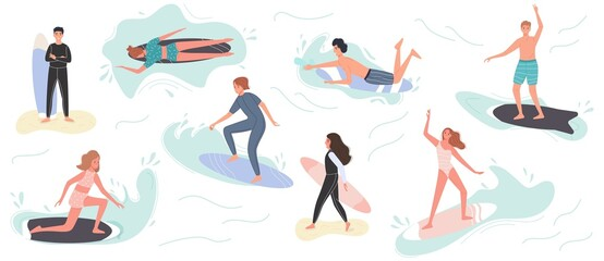 Obraz Collection of cute surfing people in swimwear surfing. Surfers with surfing board on summer beach and sea wave. Vector illustration summer time vacation - fototapety do salonu