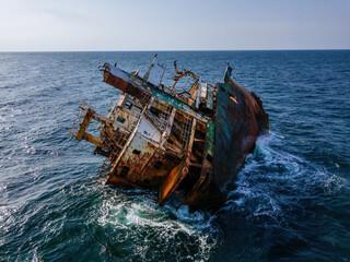Aerial view of shipwreck near Crimean coast