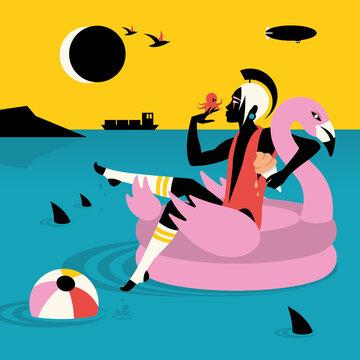 Woman on inflatable flamingo boat