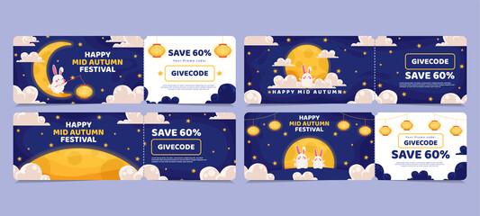 Voucher discount sale Chinese Mid Autumn Festival design