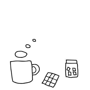 コーヒーブレイク線画イラスト(コピースペース)