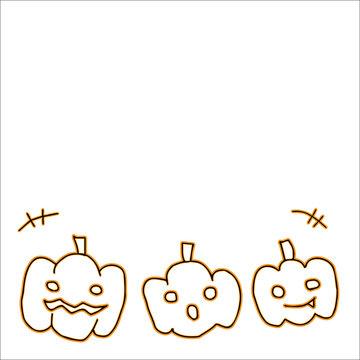 ハロウィンカボチャイラスト オレンジライン(コピースペース有)