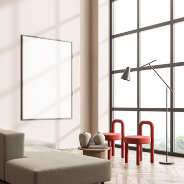 Poster in the panoramic living room with red details and beige sofa