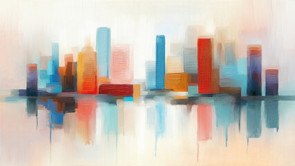 Abstract modern painting of skyline