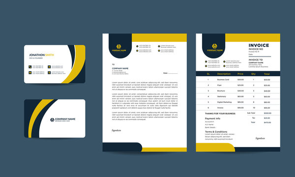 Business stationery template vector format, stationary, invoice, letterhead, business cards, identity, minimal template stationary