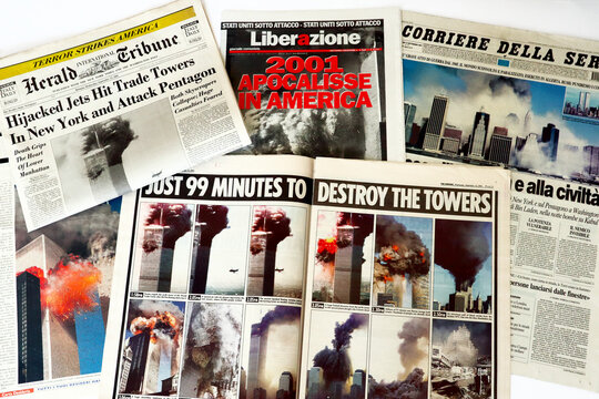 New York, USA – September 2001: International Newspapers headlines about 9/11 2001 attack