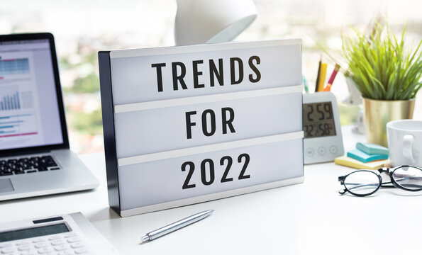 Trends for 2022 concepts with text on lightbox.inspiration and creativity.