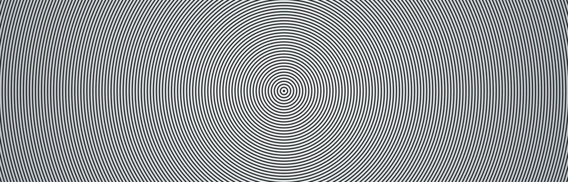 Wide futuristic technological background with concentric circles