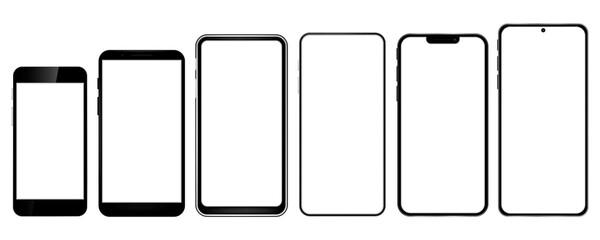 Fototapeta Realistic smartphone mockup. Mobile phone display, device screen frame and black smartphones. Vector illustration. obraz