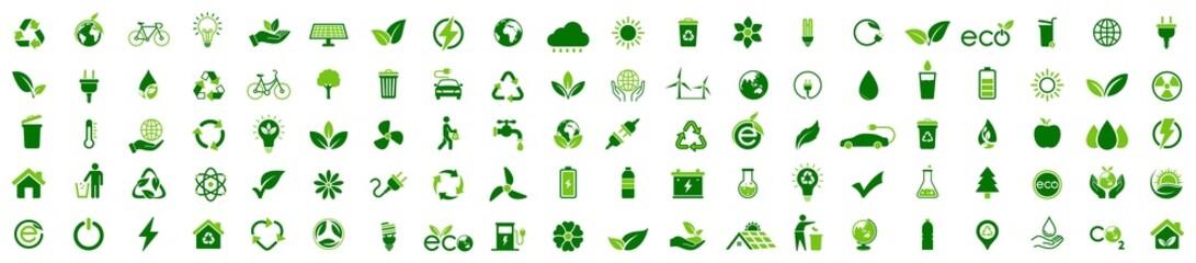 Fototapeta Ecology icon set. Ecofriendly icon, nature icons set on white background. Vector illustration obraz