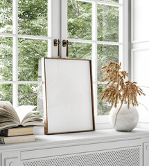 Mockup frame, dry flower and books standing close up near window, 3d render