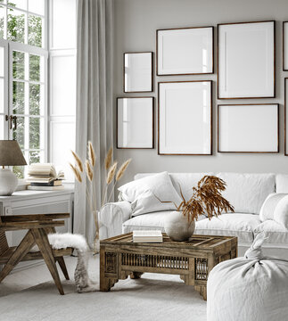Gallery wall mockup in home interior background, living room in Scandi Boho style, 3d render