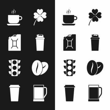Set Fitness shaker, Canister for gasoline, Coffee cup, Four leaf clover, Traffic light and beans icon. Vector