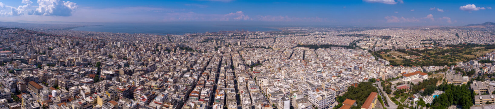 Aerial view of the city of Thessaloniki from the area Neapoli.