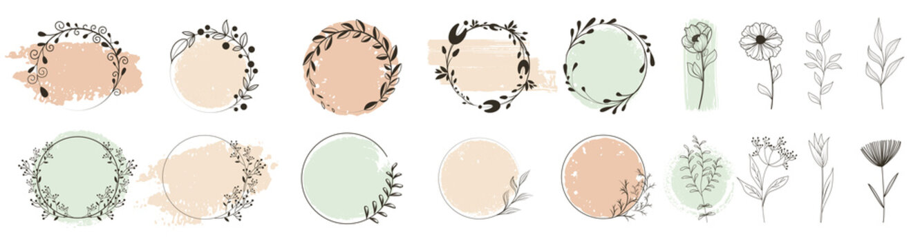 Organic natural bio labels icon set, healthy food badges healthy nutrition isolated stickers. Floral design, frames and labels. Hand drawn laurel leaves decorative elements. Leaves, swirls, ornate