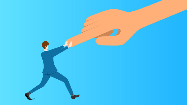 Businessman resists orders from boss. Business concept vector illustration.